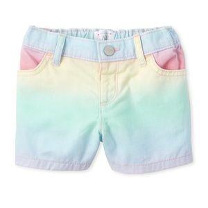Childrens Place Rainbow Denim Shortie Shorts 3T